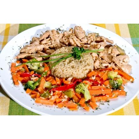 Volaile au gingembre avec quinoa et légumes sans gluten