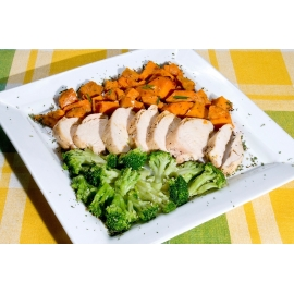 Lanières de poulet et légumes