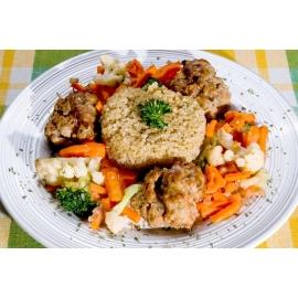 Boulettes de porc sauce teriyaki avec quinoa et légumes